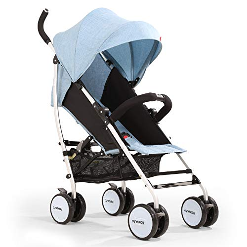 Umbrella Baby Stroller Lightweight Compact Stroller All Terrain Convenience Carriage Stroller Travel Tall Pram for Toddler Big Kids Single Stroller (Azure)
