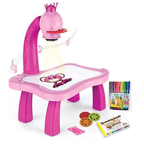 Erduo Kinder-Lern-Schreibtisch mit intelligentem Projektor Kinder malen Tischspielzeug mit Leichter Musik Kinder pädagogisches Werkzeug Zeichentisch - rosa
