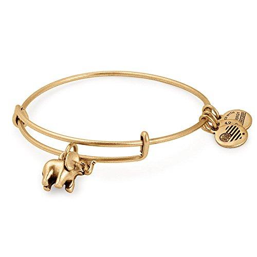 Alex and Ani Elephant Pulsera charm de Mujer latón, oro rafaeliano - A17INTELPRG