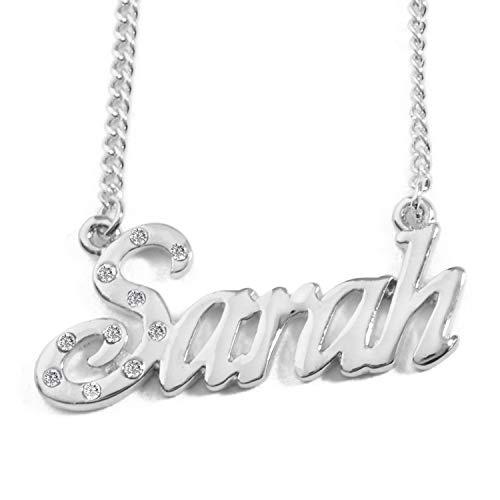KL Sarah Nombre Personalizado–Collar Chapado en Oro Blanco 18Quilates, incluidos Cristal–Cadena Ajustable 16'-19