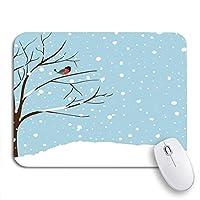 ROSECNY 可愛いマウスパッド 冬の風景シーンクリスマス新年の森落ちる雪滑り止めゴムバッキングコンピュータマウスパッドノートブックマウスマット