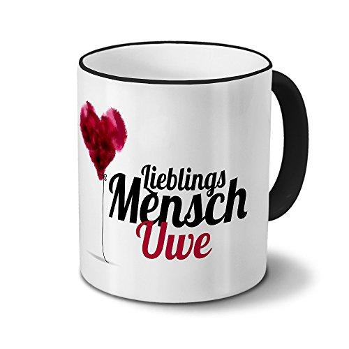 printplanet Tasse mit Namen Uwe - Motiv Lieblingsmensch - Namenstasse, Kaffeebecher, Mug, Becher, Kaffeetasse - Farbe Schwarz