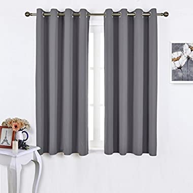 NICETOWN Blackout Curtains Panels for Bedroom - Window Treatment Thermal Insulated Solid Grommet Blackout Drapes for Living Room (Set of 2 Panels, 52 by 45 Inch, Grey)