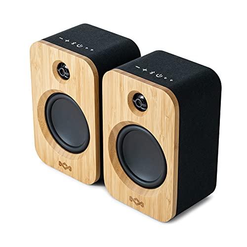House of Marley Get Together Duo, Casse Altoparlanti Bluetooth Wireless Realizzate in Modo Sostenibile, Durata della Batteria di 20 Ore o Alimentazione di Rete, 20.1x10x13 cm (x2), Legno/Nero