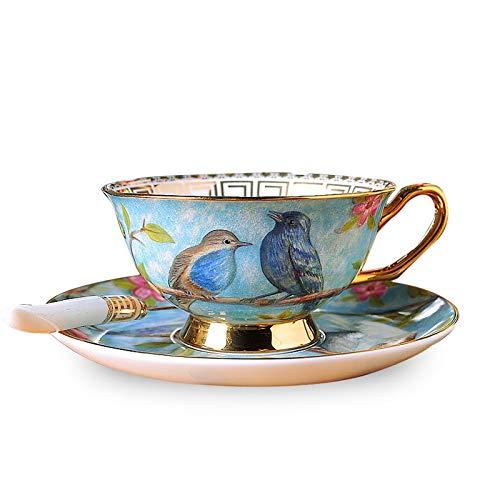 Zodensot Estilo europeo restauración de porcelana antigua taza de café platos trajes de cerámica británica Phnom Penh Tazas de té de la tarde tazas de café (220 ml, A)