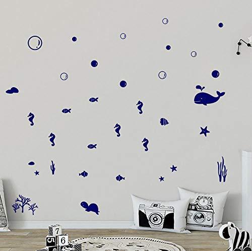 JHLP Muurstickers Onderwater Dier Wereld Engels Woonkamer Slaapkamer Raam Decoratie Sticker Blauw 58x32cm