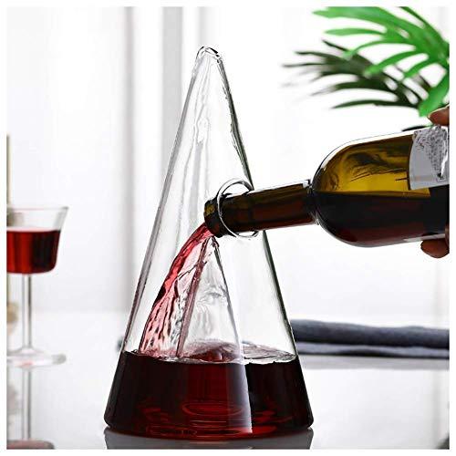 CYHT Decanter di Progettazione piramidale da 1000ml con 2 Bicchieri di Vino Rosso Glass in Cristallo Senza Piombo decantertrasparente Crystal de decantatore di Vetro Rosso Vino Vino Rosso