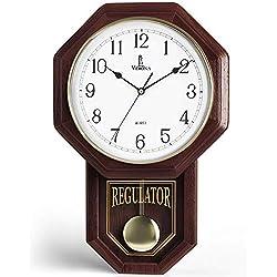 Pendulum Wall Clock - Decorative Wood Wall Clock with Pendulum - Schoolhouse Clock Regulator Design, Battery Operated & Silent, Wooden Pendulum Clock for Living Room, Office, Home Decor & Gift 18x11