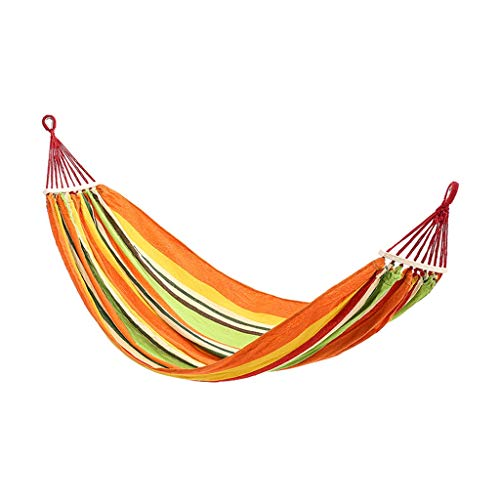 Dongxiao Hamaca para camping, cama individual, doble, portátil, para exteriores, para viajes, playa, jardín, patio, mochilero (color naranja)