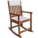 FKBED Gartenlounge Outdoor-Holz Schaukelstuhl mit Kissen Liegestühle for Gardern Balkon Campingplatz Hinterhof Möbel Stühle Wetterbeständigkeit-54x77x107 cm