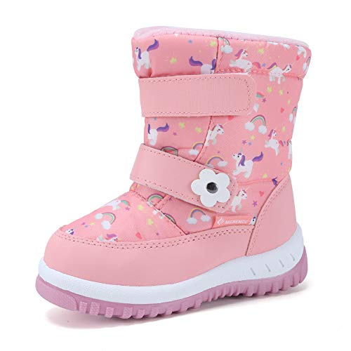CIOR Winter Snow Boots for Boy and Girl Outdoor Waterproof with Fur Lined(Toddler/Little Kids) U120WXZ012-L.pink-26