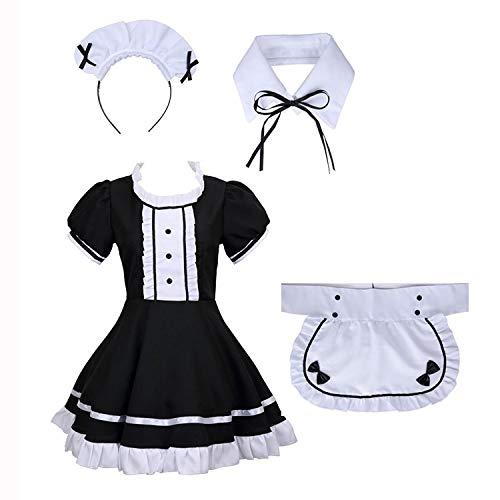 Disfraz de mucama francesa, vestido de manga corta negro con delantal blanco y sombrero, collar falso/delantal de criada francesa para adultos, disfraz de cosplay (negro, talla L)