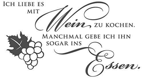 dekodino® Wandtattoo Spruch Küche Ich liebe es mit Wein zu kochen Wanddeko