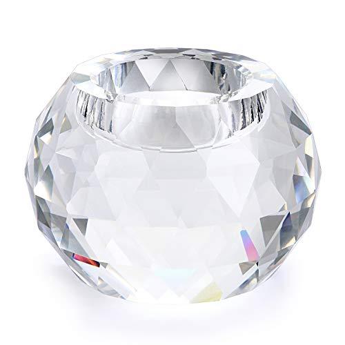 BSTKEY Soporte de vela de bola de cristal de 80 mm, elegante...
