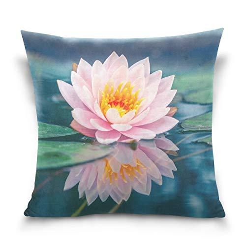 lucies Kissenbezug dekorative Kissenbezug Quadratischer Kissenbezug, Blumenblume Seerose Lotus Schlafsofa Kissenbezug (18x18inch) Twin Sides
