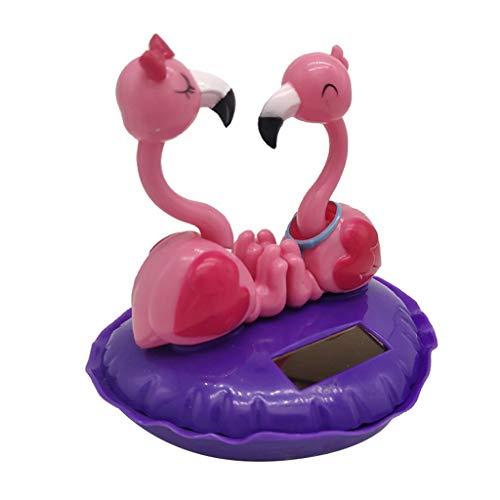 perfeclan Flamingo Figur Solarfigur Wackelfigur Solar Deko Figur Wackeltier Valentine Romantische Dekoration - Lila
