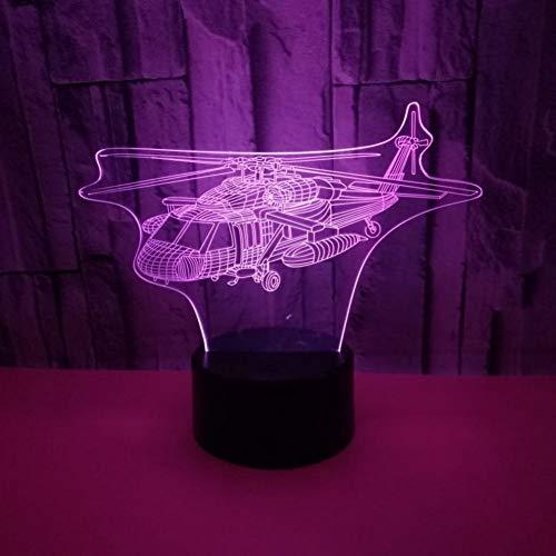 Yujzpl 3D-illusielamp Led-nachtlampje, USB-aangedreven 7 kleuren Knipperende aanraakschakelaar Slaapkamer Decoratie Verlichting voor kinderen Kerstcadeau-Propeller vliegtuig