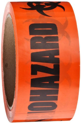 Roll Products 142-0004 PVC Film Biohazard Warning Tape with Black Imprint, Legend 'Biohazard' (with Logo), 55 yd. Length x 2' Width, 3' Diameter Core Roll, for Identifying and Marking, Fluorescent Red/Orange