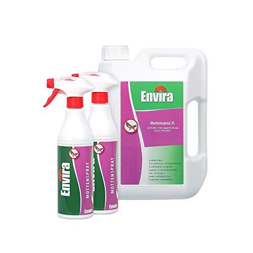Envira Motten-Spray - Anti-Motten-Mittel Mit Langzeitwirkung - Geruchlos & Auf Wasserbasis - 2x500ml+2Ltr