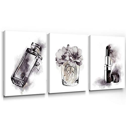 SUMGAR Schminke Wandbild Schwarz und Weiß Bild Leinwand Modern Parfüm Flaschen-Drucke Wasserfarbe Lippenstift-Kunstwerk Dekoration für Frau Mädchen Wohnung 30x40 cm 3 Stücke