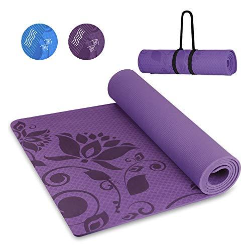 INTEY TPE Tapis Yoga, Tapis Fitness sans Colle, Antidérapant, Épais, Écologique, Hypoallergénique, Cordon Inclus,...