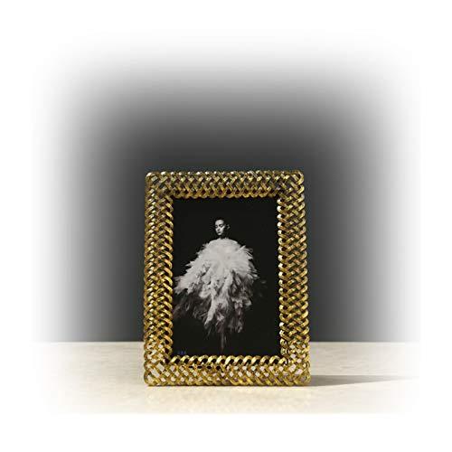 WAGA 4x6 Bilderrahmen Foto Display für Tischplatte Kreative Metall Gewebt Muster Hohl Fotorahmen Ornamente, Geschenke für Frauen (Größe : 4X6)