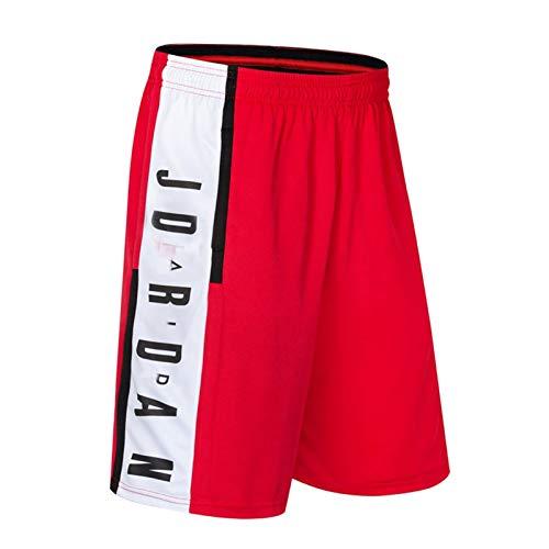 lfly Jordan Pantalones cortos para hombre Active Performance Pantalones de baloncesto con bolsillos, pantalones de entrenamiento de gimnasio y running (M-3XL) rojo-XXL