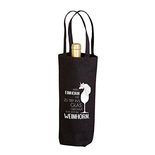 VISUAL STATEMENTS® Flaschenbeutel mit Spruch /100% schwere Baumwolle - 340 g/m² / Hält Flaschen bis zu 1,5 l/Geschenk