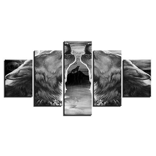 INFANDW Wandkunst Leinwand Abstrakter Grauer Schwarzer Wolf Leinwanddrucke 5 Panels Gemälde Artwork Muster 150x80cm Poster Drucke Auf Leinwand Modern Für Kinderzimmer Home Decor (Kein Rahmen)