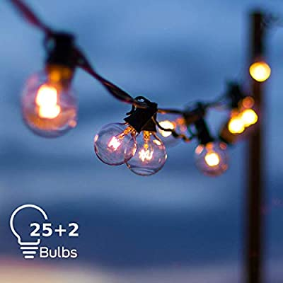 Grezea Outdoor Indoor Globe String Lights with 27 Clear G40 Light Bulbs, Perfect Decor /Commercial Lighting for Patio Backyard Garden Wedding Party Tent RV Bedroom Cafe Shop Bistro Market, Warm White from Grezea