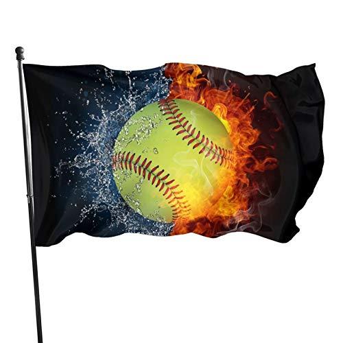 Bandera de jardín Patio al aire libre con ojales de latón quema de fuego Softbol béisbol mosca bandera interior decoración del hogar