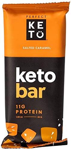 Perfect Keto Bars - The Cleanest Keto Snacks with Collagen and MCT. No Added Sugar, Keto Diet Friendly - 3g Net Carbs, 19g Fat,11g protein - Keto Diet Food Dessert (Salted Caramel, 12 Bars) 1
