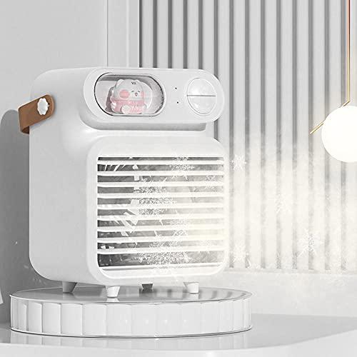 Mini refrigerador de aire, purificador de aire, ventilador de agua refrigerado por agua de dibujos animados usb, ambiente de luz del hogar humidificador de luz-blanco_13 * 11 * 18cm