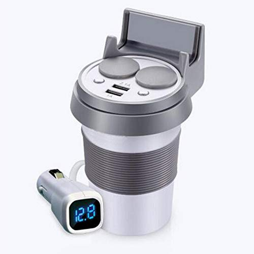 PolarLander Chargeur de Voiture Dual USB Cup avec Support de téléphone Charge Rapide Dual Socket Allume-Cigare Adaptateur Secteur pour iPhone Android Argent