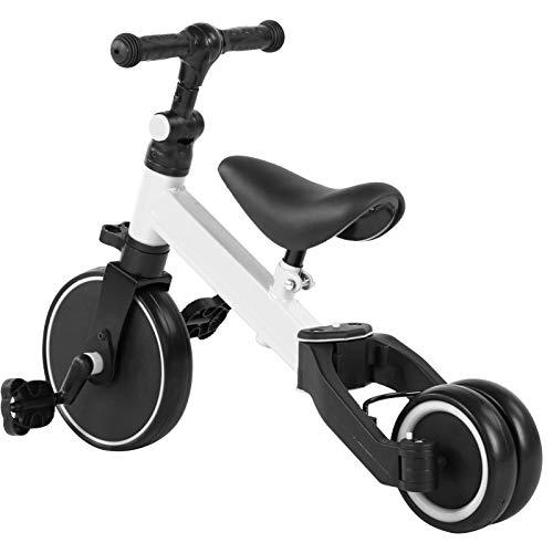 Bicicleta sin pedales para niños, 2 en 1, con ruedas, ayuda para aprender a andar, altura del asiento ajustable, a partir de 1 año hasta 3 años, superando la prueba de seguridad (color blanco)
