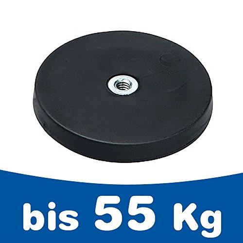 Neodym Magnet-System gummiert Innengewinde - Durchmesser: Ø 22 mm bis Ø 88 mm - Innen-Gewinde: M4 bis M6 - Haftkraft bis 55 kg - NdFeB Magnetsysteme mit Gummimantel - Anti-Rutsch-Beschichtung, Größe:Ø 22mm | M4 | Haftkraft 3kg