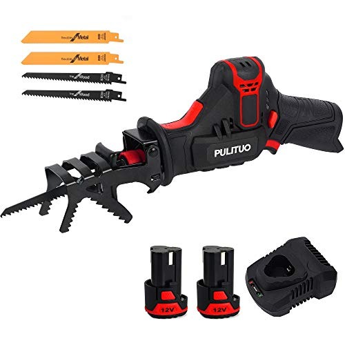 PULITUO 12V Cordless Reciprocating Saw with Clamping Jaw, 2pcs 2.0Ah Li-Ion Battery with 1 Hour Fast Charger, Variable Speed, 4 Saw Blades for Wood & Metal Cutting