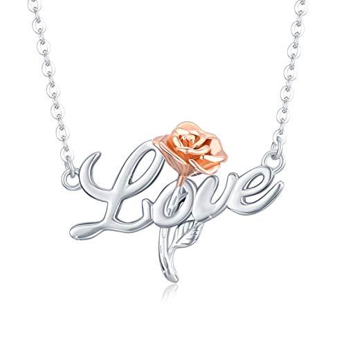 Collar con colgante de flor de rosa de plata de ley 925 chapado en oro rosa cadena de joyería para mujer con rosa flor romántica regalo para mujer esposa novia enfermera