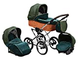 SKYLINE Klassisch Retro Stil Wicker LUX Kombi-Kinderwagen Buggy 3in1 Reise
