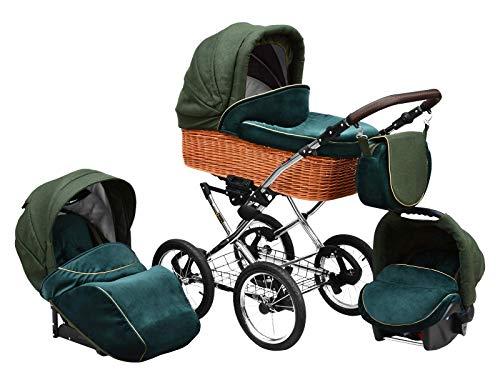 SKYLINE Klassisch Retro Stil Wicker LUX Kombi-Kinderwagen Buggy 3in1 Reise System Autositz (Isofix) (Sea Green/14