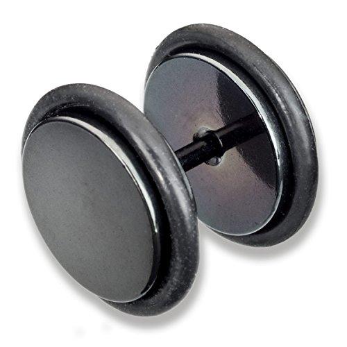 Piercing-Plug falso anodizado negro para la oreja , alhajado, de acero quirúrgico con goma negra y un diámetro de 10mm