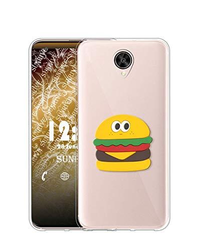 Sunrive Kompatibel mit Meizu Pro 6 Hülle Silikon, Ständer Fingerhalter Fingerhalterung Handyhülle Transparent Schutzhülle Etui Hülle (Hamburger) MEHRWEG