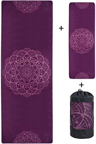 VIVOTE Microfiber Yoga Towels Set Yoga Mat Towel 26 x72 Inch Hand Towel 12 x 36 Inch Corner product image