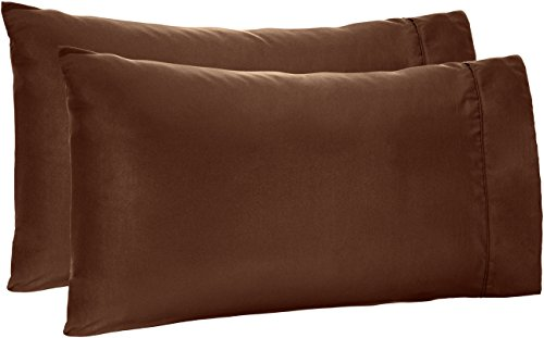 Amazon Basics Lightweight Super Soft Easy Care Microfiber Pillowcases - 2-Pack, King, Chocolate