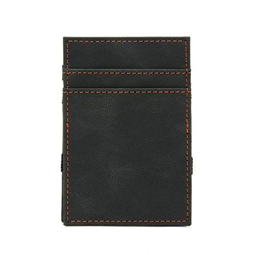 Cartera de cuero para hombres, clip de dinero delgado, carteras de bolsillo frontal con ventana de identificación, soporte de tarjeta de crédito minimalista con caja de regalo