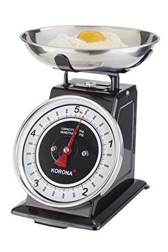 Korona 76150 Retro Küchenwaage Tom | Tragkraft 5 kg, Einteilung 20 g | inkl. Wiegeschale | Tara - Zuwiegefunktion | große Vollsichtskala