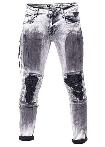 Rusty Neal Man Denim Herren Jeans Hose Für Männer Biker Grey Oil Washed Stretch Slim 104, Hosengröße:33/34