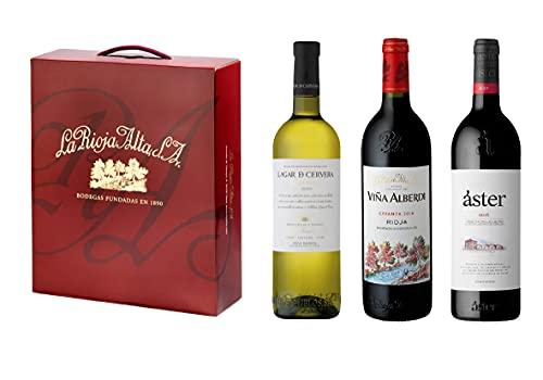 La Rioja Alta - Pack Especial 3 Botellas Vino Tinto y Vino Blanco   1 Botella Viña Alberdi Tempranillo 75 cl + 1 Botella Áster Crianza 75 cl + 1 Botella Lagar de Cervera Albariño 75 cl