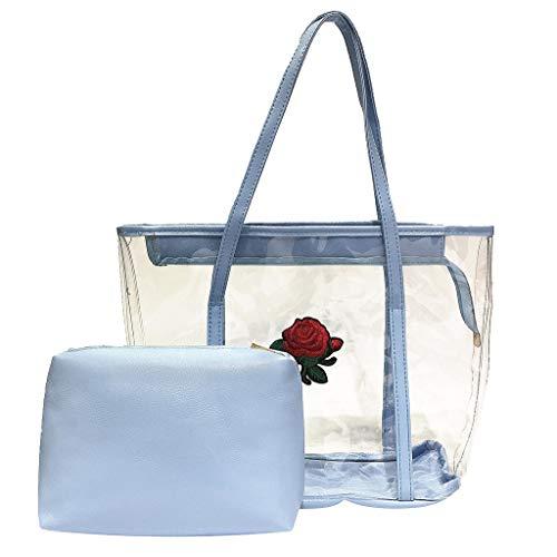 Lowest Prices! Transparent Bags 2pcs Set PVC Handbag Clear Shoulder Bag with Makeup Pouch