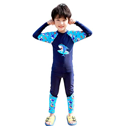 WYH Bequeme Badebekleidung für Jungen, geteilter Badeanzug für Babys im mittleren Alter, langärmelig, Haifisch-Badeanzug, atmungsaktiv (Farbe: B, Größe: XXL/110–120 cm)